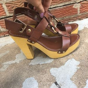 Mossimo Supply Co Wooden Platform Strappy Heel